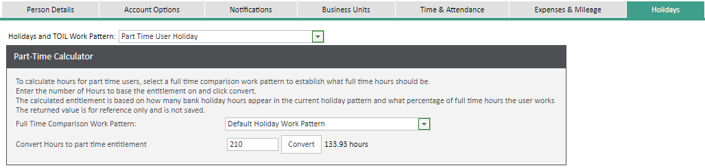 Sicon WAP Help and User Guide Holidays Module - Part tIme users Holiday Entitlement
