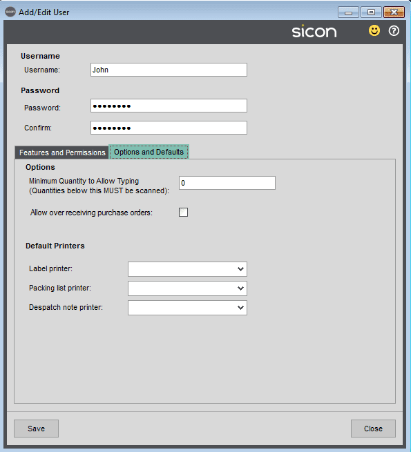 Sicon Barcoding & Warehousing Help and User Guide - Add / Edit User Options & Defaults