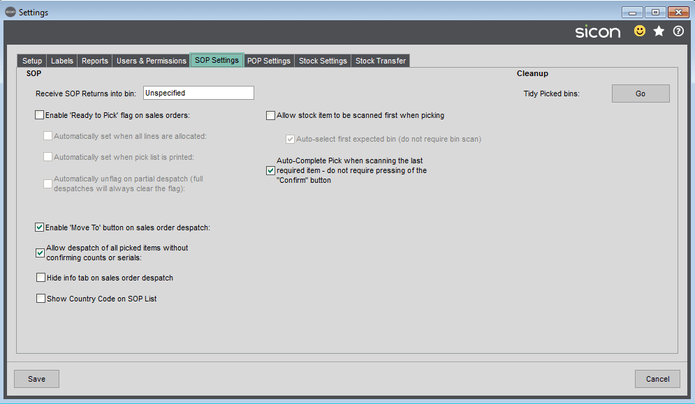 Sicon Barcoding & Warehousing Help and User Guide - Sage Settings SOP Settings Tab