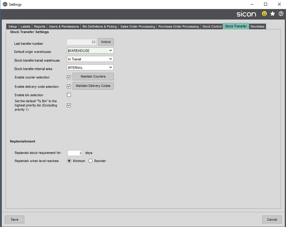 Barcoding & Warehousing - Stock Transfer Settings Tab