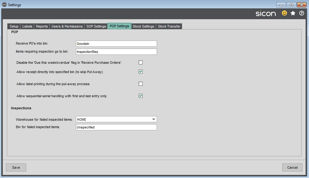 Sicon Barcoding & Warehousing Help and User Guide - Sage Settings POP Settings TAB