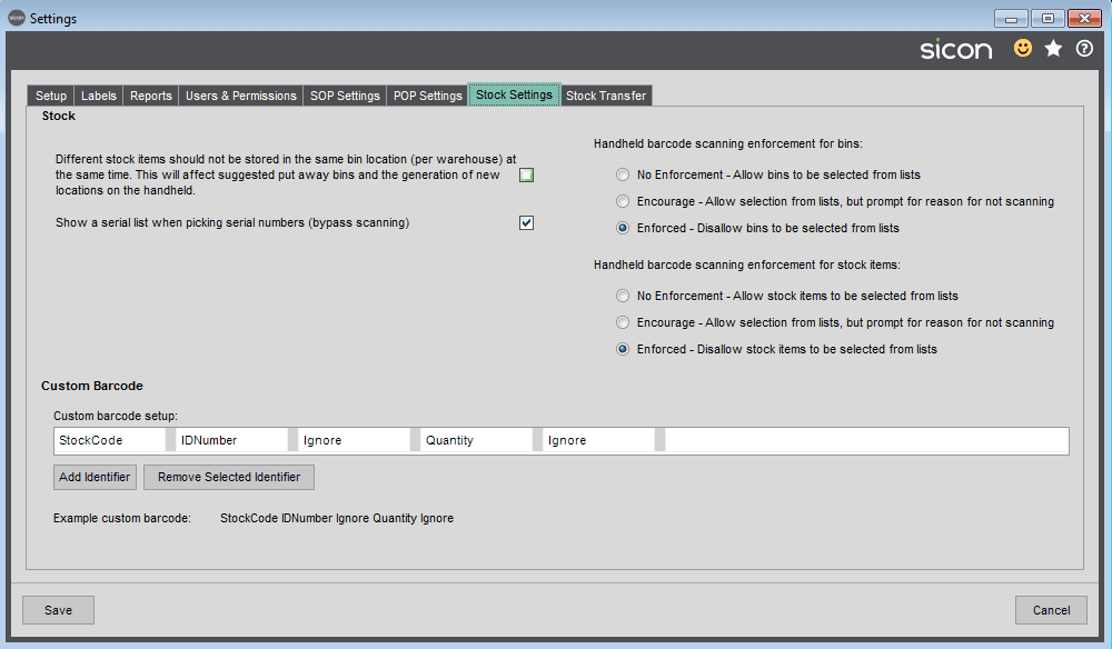 Sicon Barcoding & Warehousing Help and User Guide - SAGE Settings Stock Settings tab