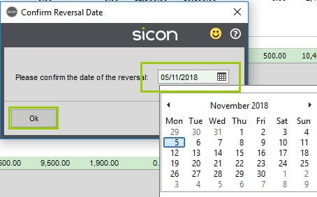 Sicon Construction Help and User Guide - confirm reversal date