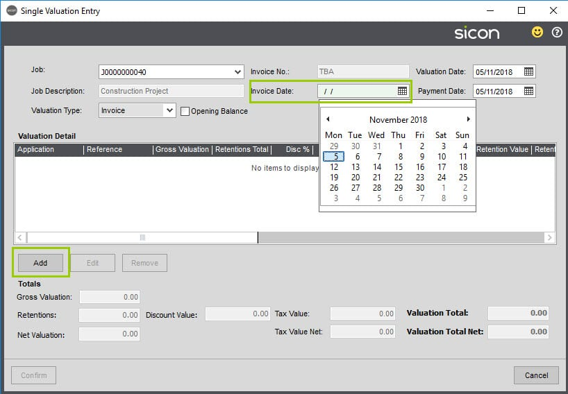 Sicon Construction Help and User Guide - invoice date add