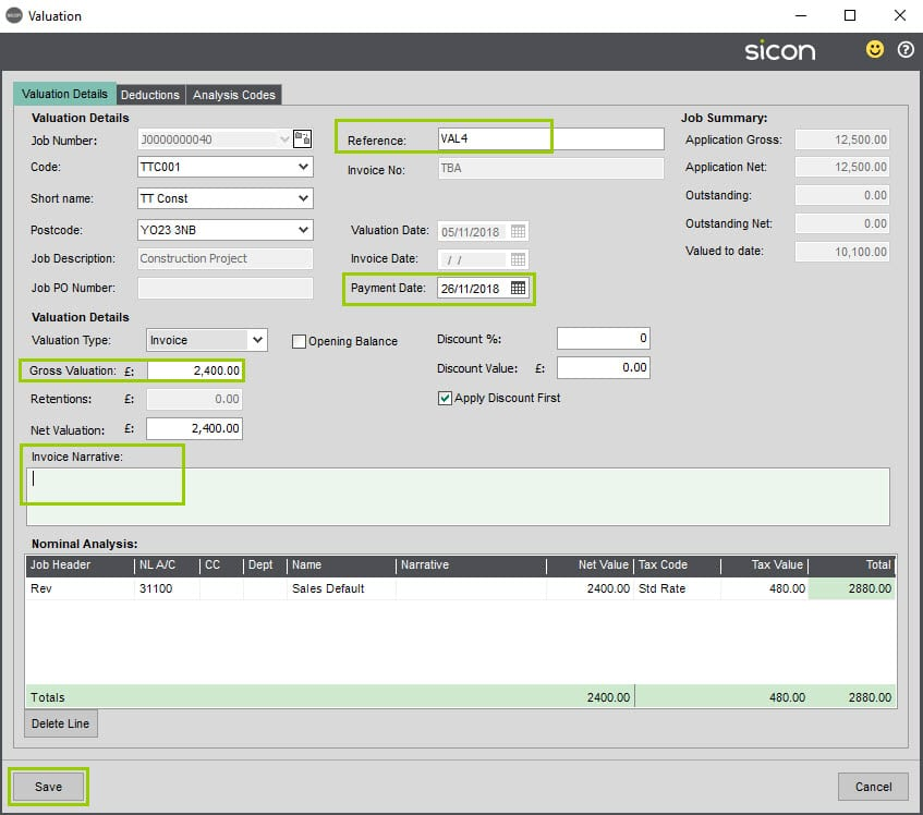 Sicon Construction Help and User Guide - Valuation screen regerence, payment, invoice, valuation detail