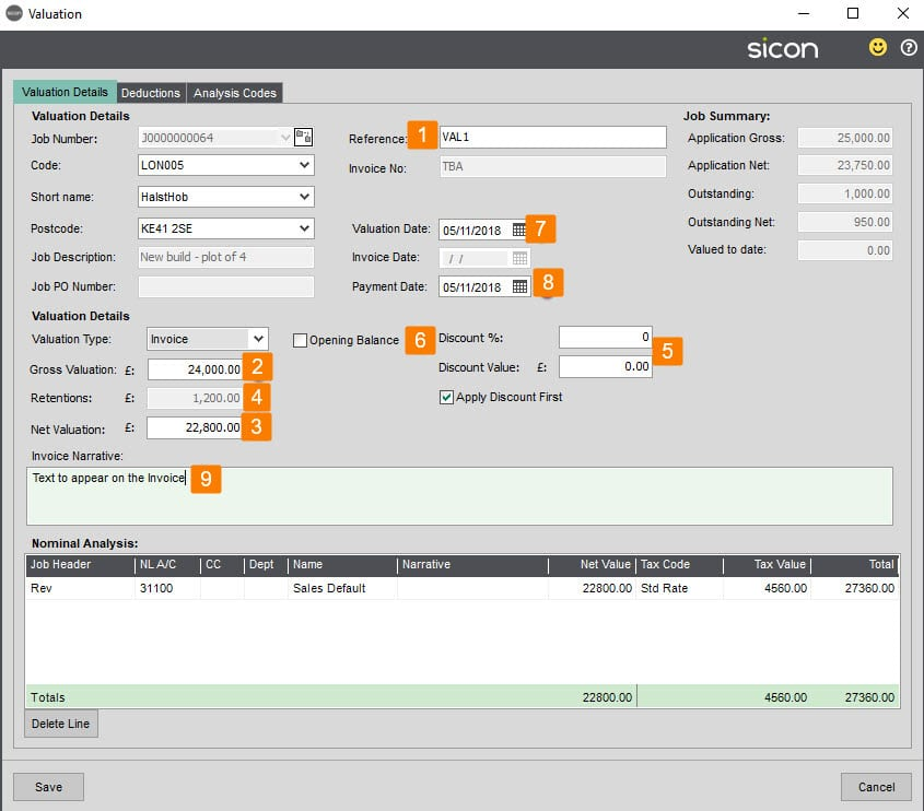 Sicon Construction Help and User Guide - add valuation button
