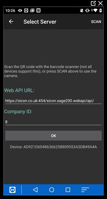Sicon Barcoding & Warehousing - Logging In to the Handheld App 2