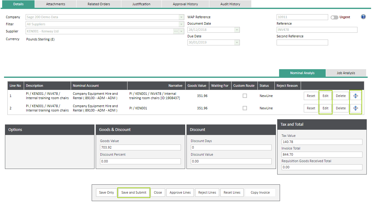 WAP Help and User Guide Invoices Module - Split Line Invoices