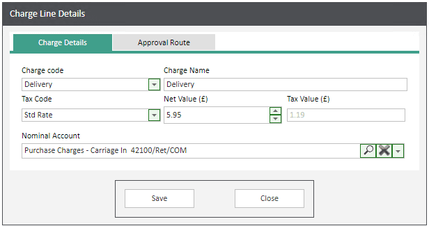 Sicon WAP Help and User Guide Requisitions Module - Add a charge line