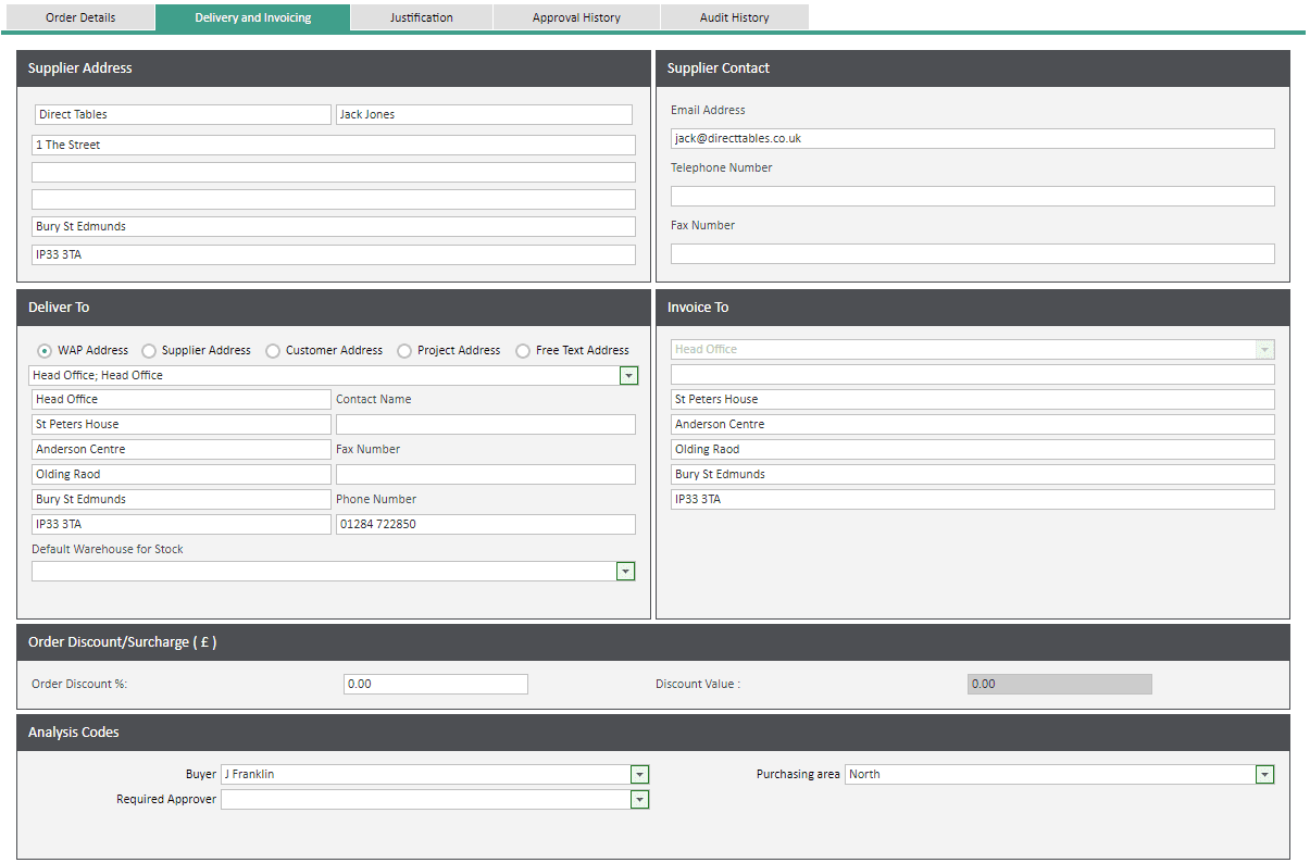 Sicon WAP Help and User Guide Requisitions Module - Delivery and Invoicing Tab