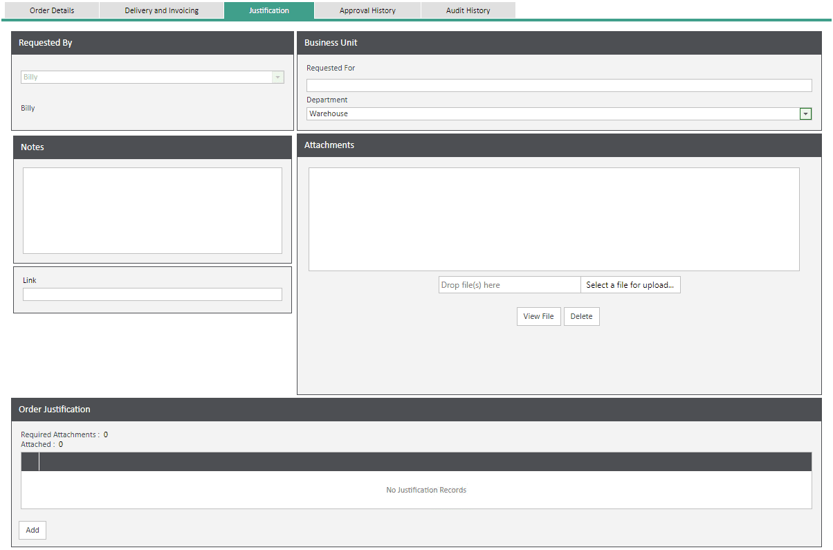 Sicon WAP Help and User Guide Requisitions Module - Justification Tab
