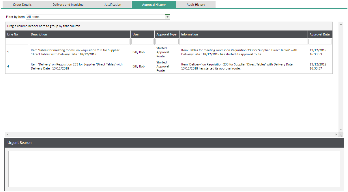Sicon WAP Help and User Guide Requisitions Module - Approval History Tab