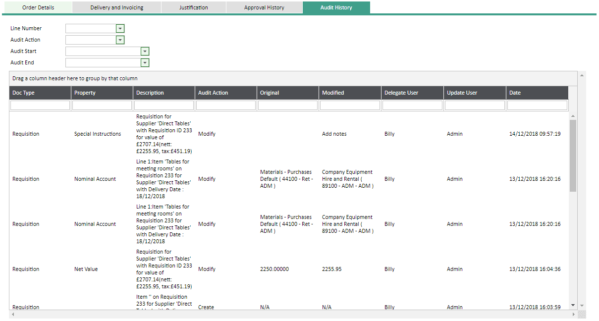 Sicon WAP Help and User Guide Requisitions Module - Audit History Tab