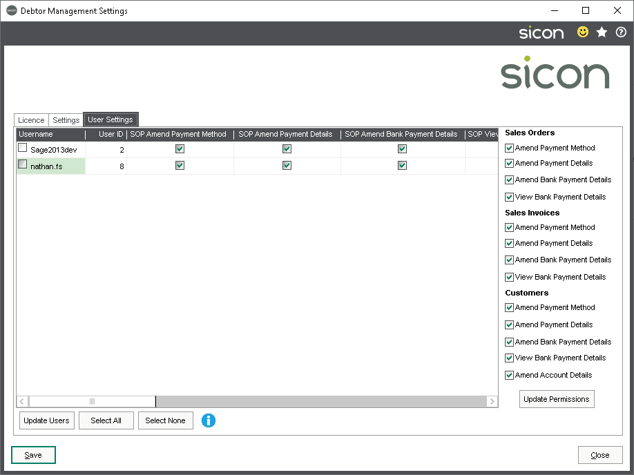 Sicon Debtor Management Help and User Guide - user permissions