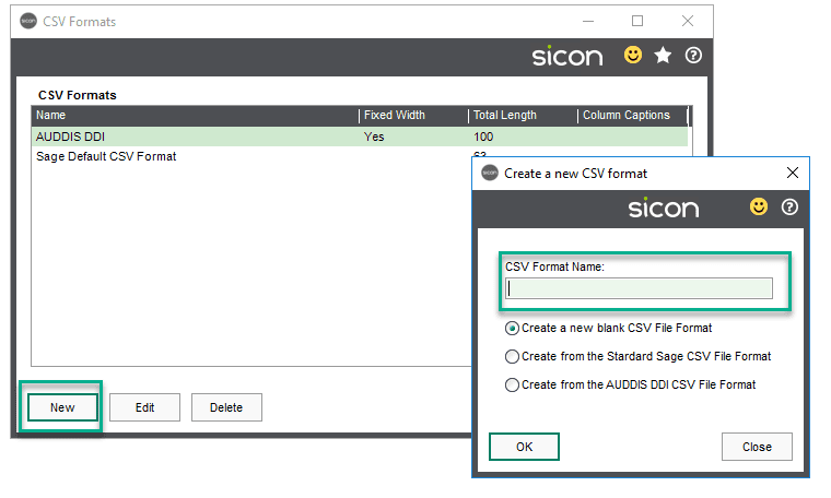 Sicon Debtor Management Help and User Guide - csv add new format