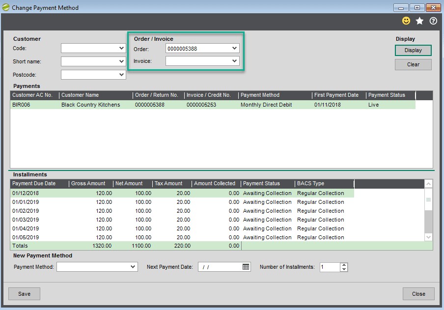 Sicon Debtor Management Help and User Guide - change payment method screen shot 2