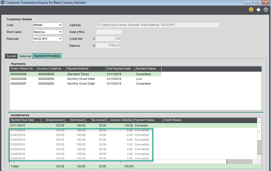 Sicon Debtor Management Help and User Guide -change payment method screen shot 5