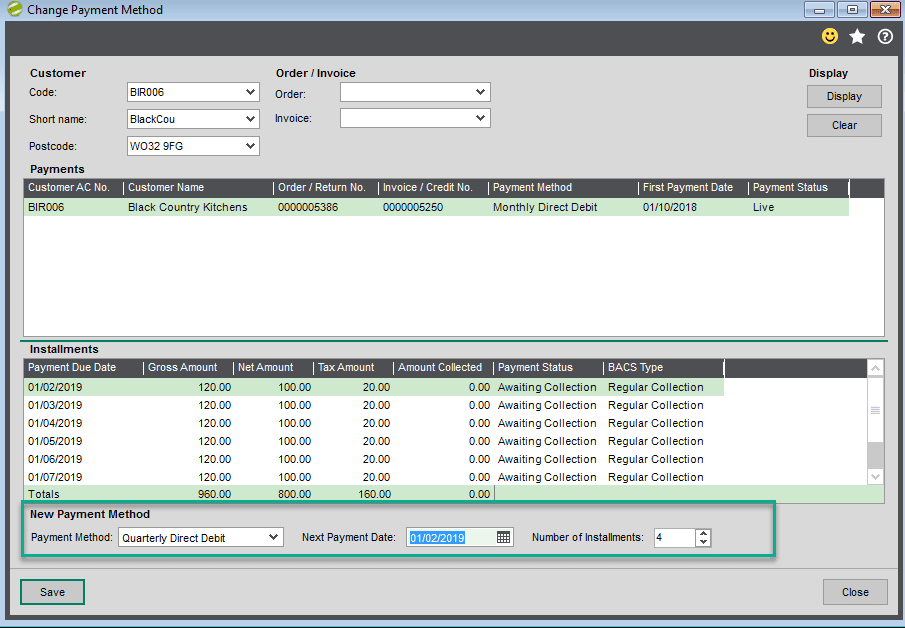 Sicon Debtor Management Help and User Guide - change payment method screen shot 6