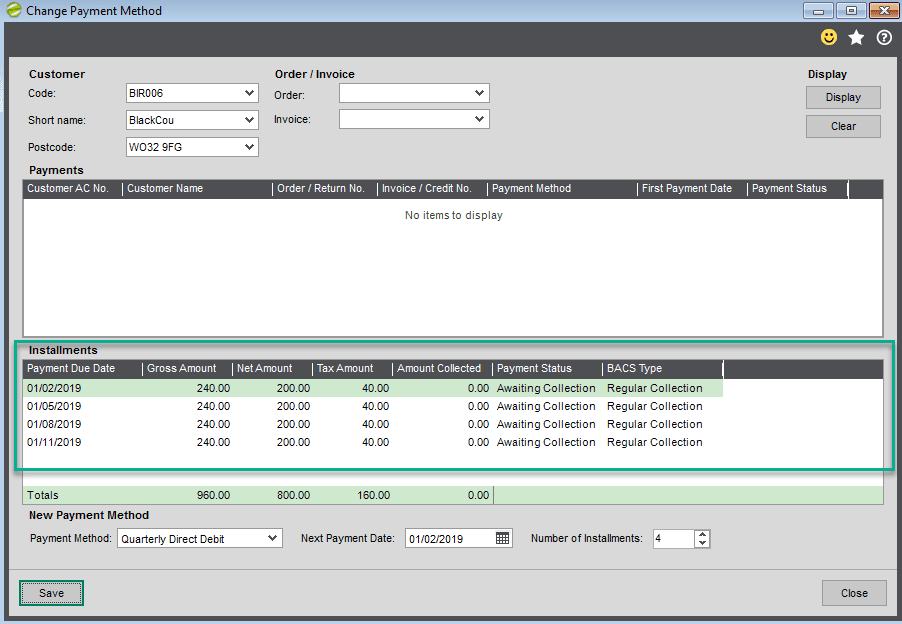 Sicon Debtor Management Help and User Guide - change payment method screen shot 7
