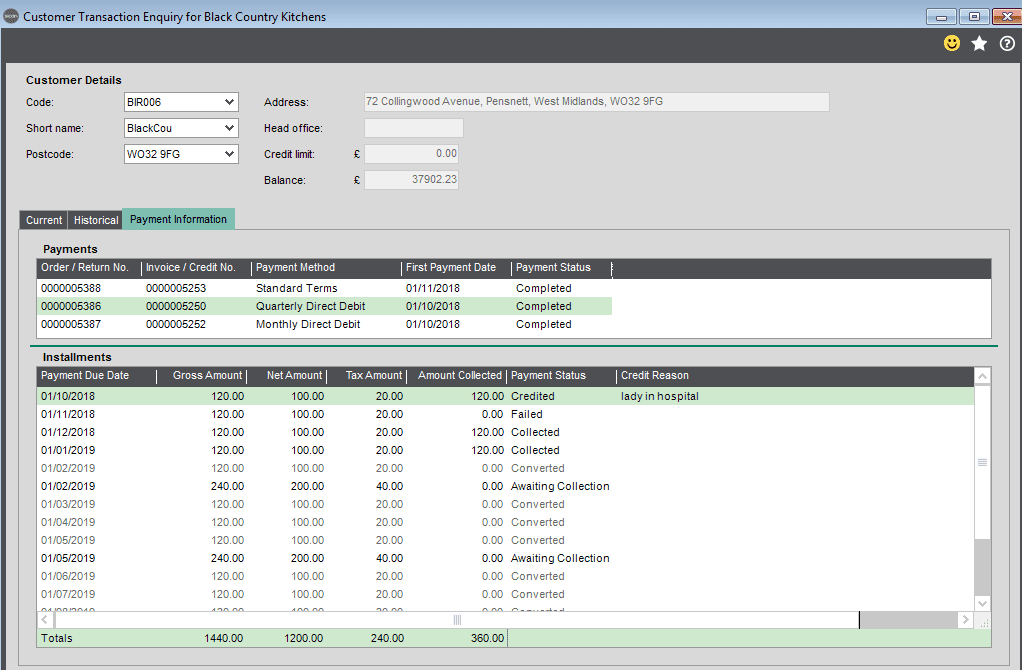 Sicon Debtor Management Help and User Guide -change payment method screen shot 8