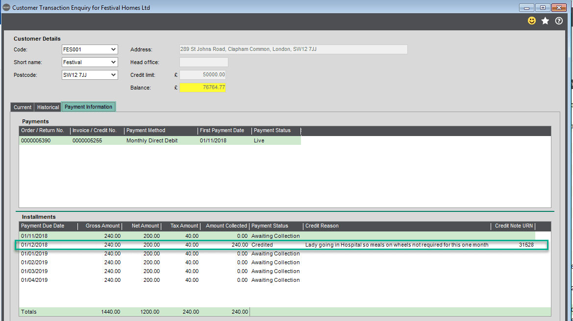 Sicon Debtor Management Help and User Guide - raising an internal credit enquiry screen