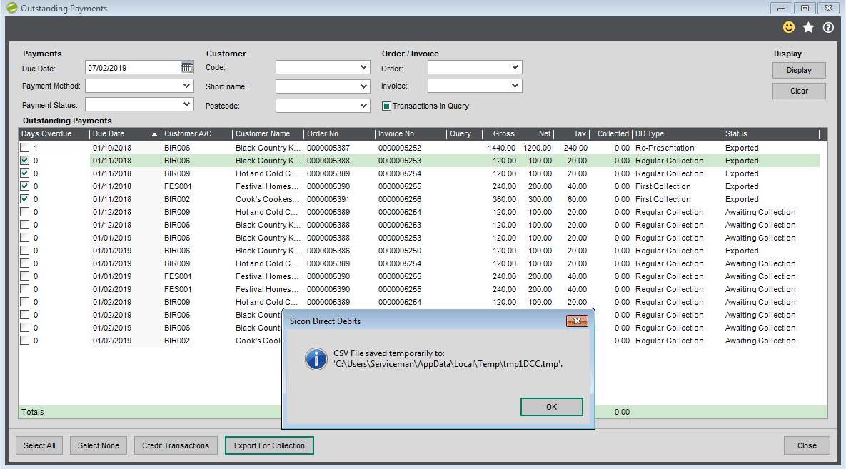Sicon Debtor Management Help and User Guide - preparing for csv export save file cancel