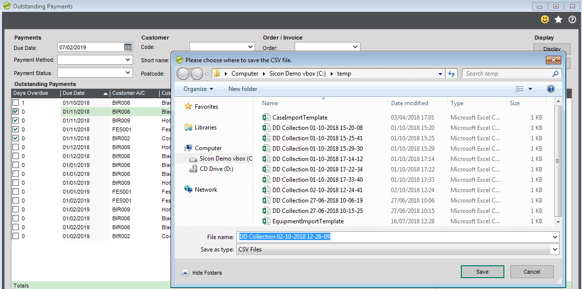 Sicon Debtor Management Help and User Guide - preparing for csv export save file no 2
