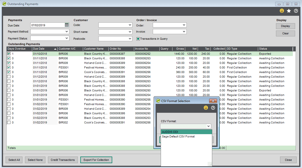 Sicon Debtor Management Help and User Guide - preparing for csv export save file