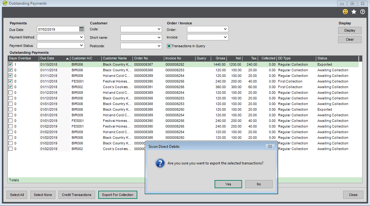 Sicon Debtor Management Help and User Guide - preparing for csv export
