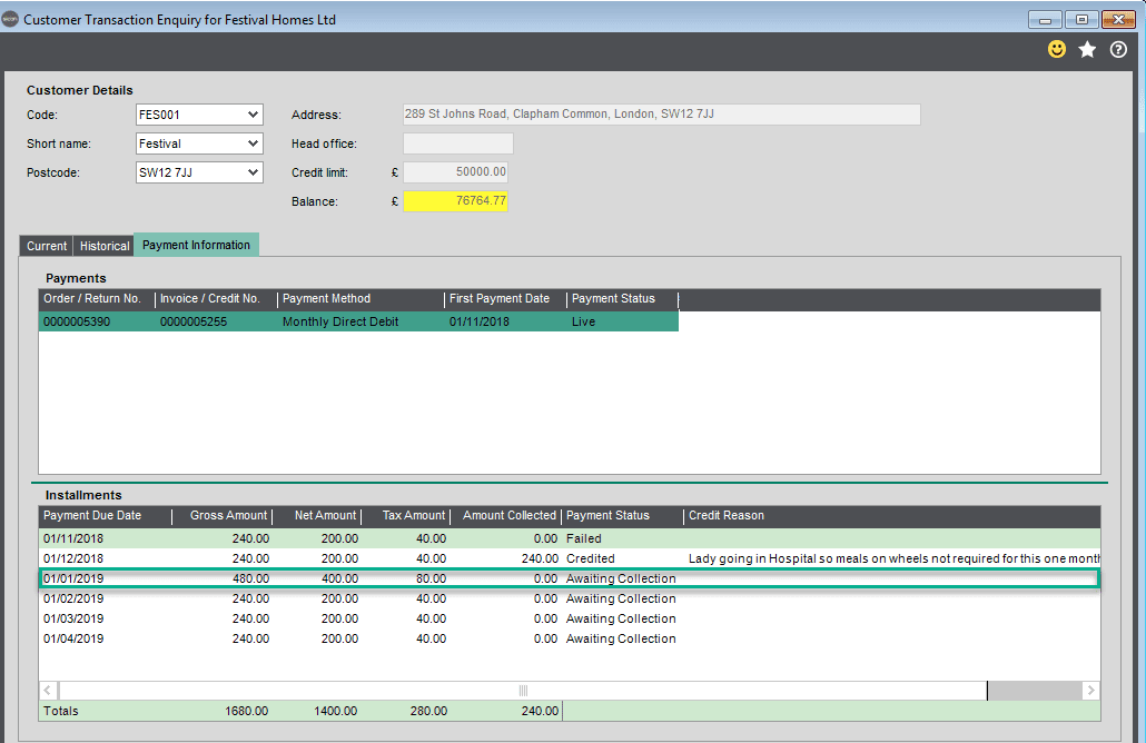 Sicon Debtor Management Help and User Guide - processing failed collection add to next installment
