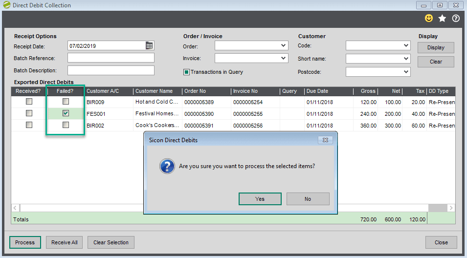 Sicon Debtor Management Help and User Guide - processing failed collection