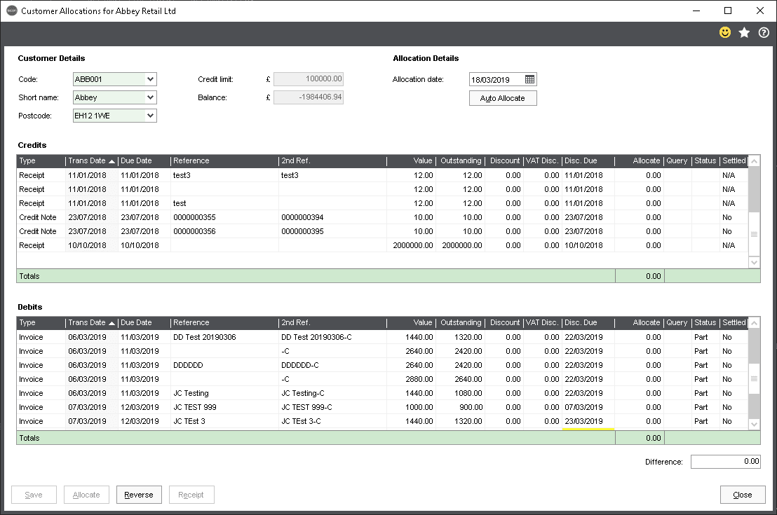 Sicon Debtor Management Help and User Guide - allocating and amending allocation