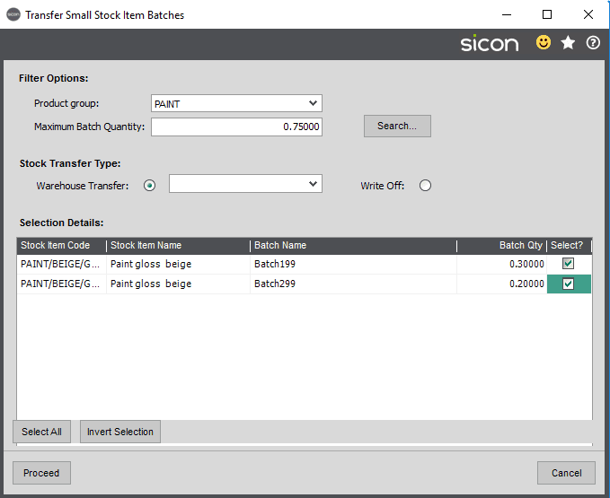 Sicon Distribution Help and User Guide - Transfer Small Item Batches