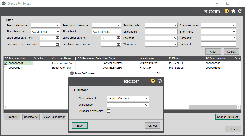 Sicon Distribution Help and User Guide - Change Fulfilment