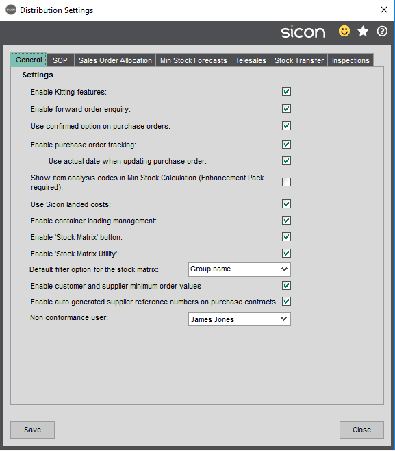 Sicon Distribution Help and User Guide - Settings Tab