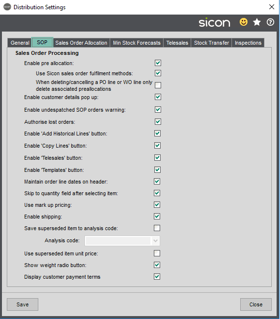 Sicon Distribution Help and User Guide - SOP Tab