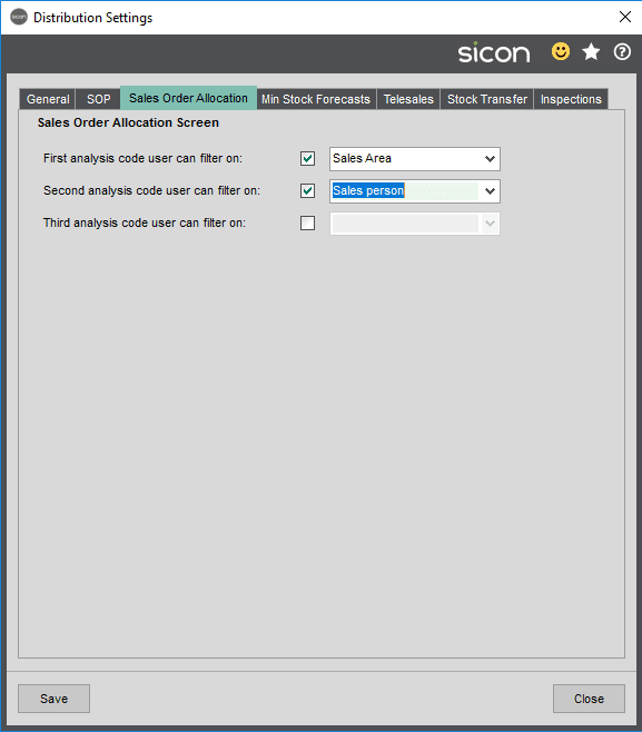 Sales Order Allocation tab