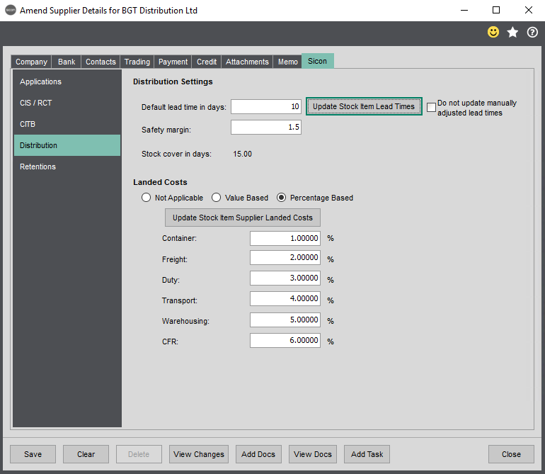 Sicon Distribution Help and User Guide - PL Enter new/amend account details