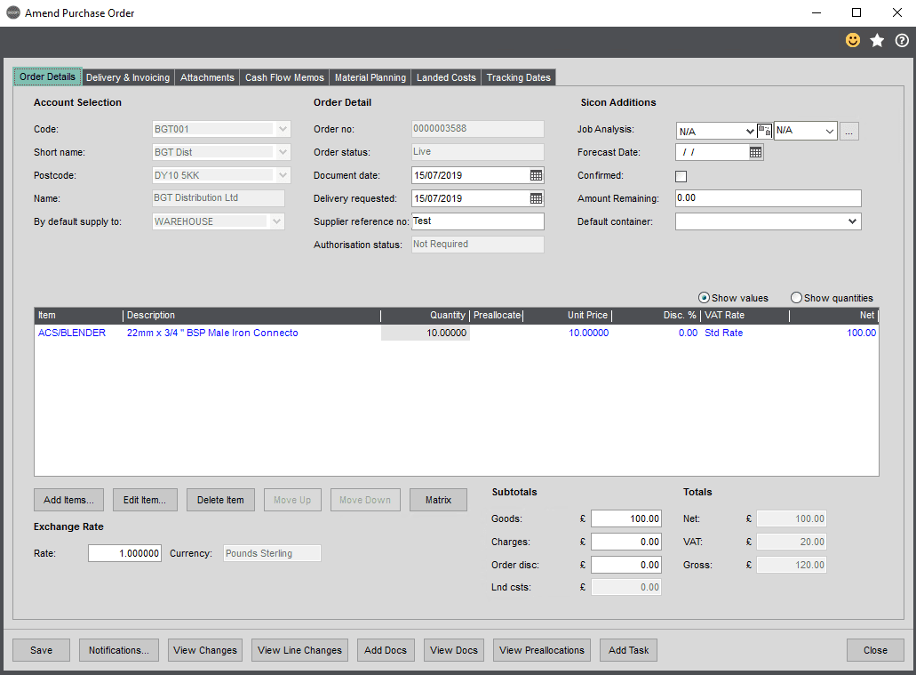 Sicon Distribution Help and User Guide - Enter/amend order
