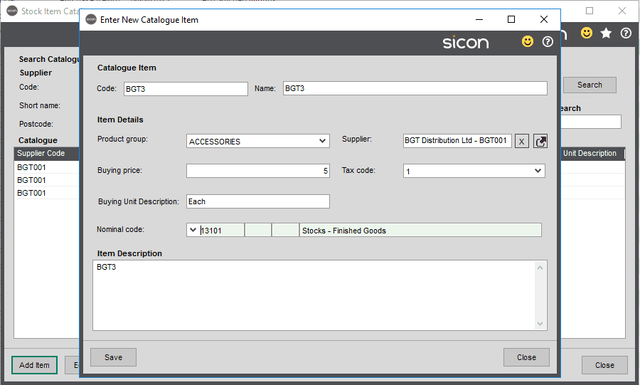 Sicon Distribution Help and User Guide - Supplier Catalogue