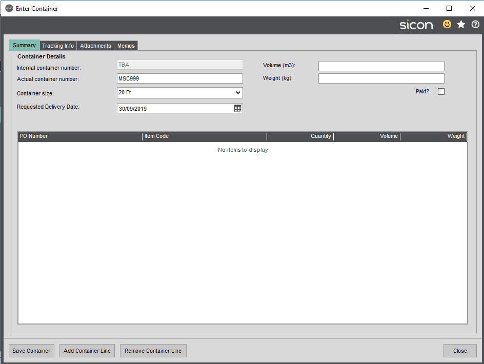 Sicon Distribution Help and User Guide - Container Management 2