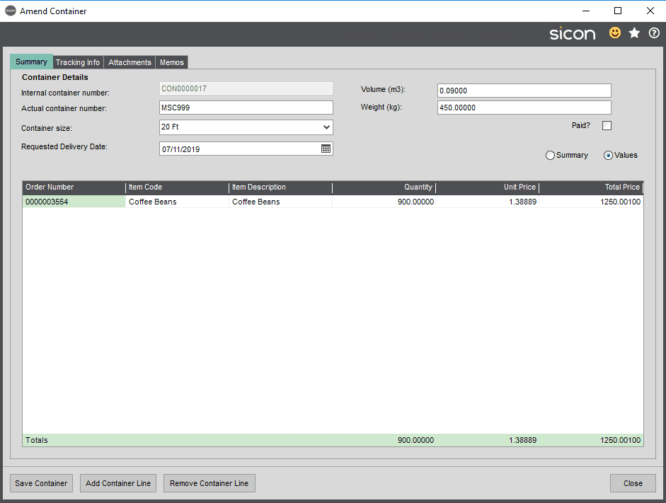 Sicon Distribution Help and User Guide - Container Management 3