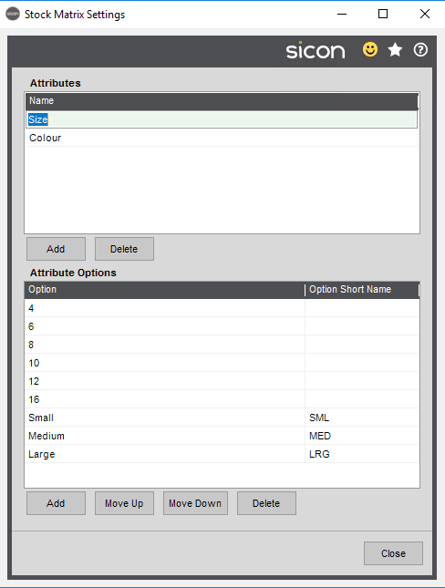 The Stock matrix settings allow users to set up the attributes to be used in the matrix groups