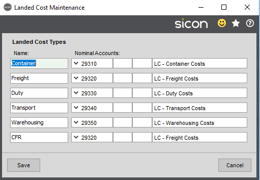 Sicon Distribution Help and User Guide - Maintain Landed Costs