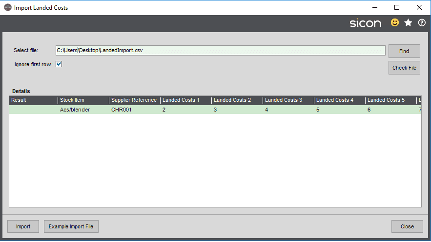 Sicon Distribution Help and User Guide - Import Landed Costs