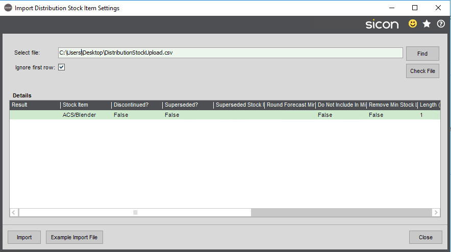 Sicon Distribution Help and User Guide - Import Stock Item Settings