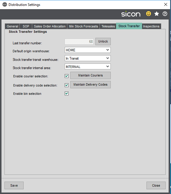 Sicon Distribution Help and User Guide - Sicon Stock Transfers