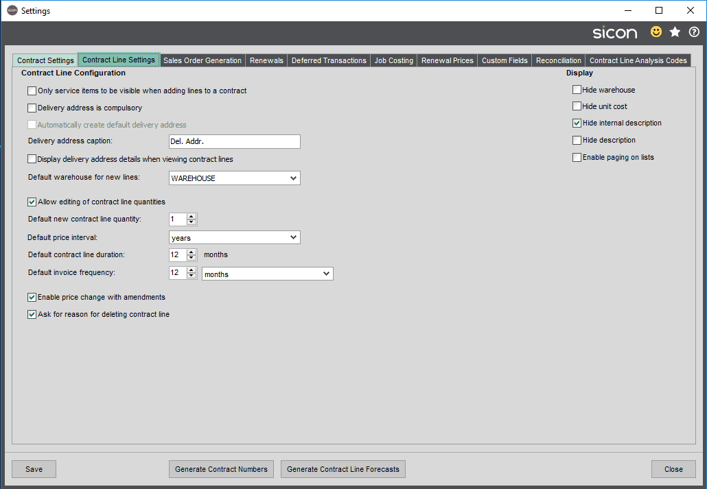 Sicon Contracts Help and User Guide - Contract Line Settings Tab
