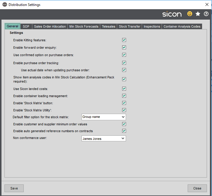 Sicon Distribution Help and User Guide - Image 10.1.1
