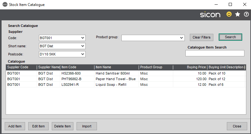 Sicon Distribution Help and User Guide - Image 2.1.1